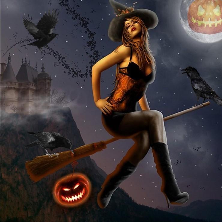 Днем разведчика, картинка с ведьмой на метле